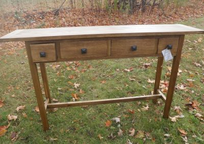 Arts and Crafts Console table in white oak with an anyline dye