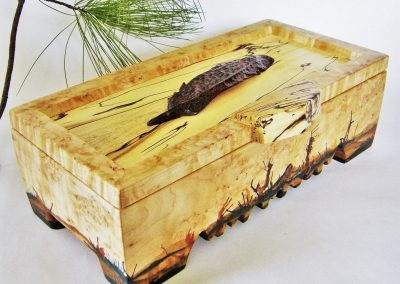 D SYMES MAPLE BOX WITH WALNUT FEATHER