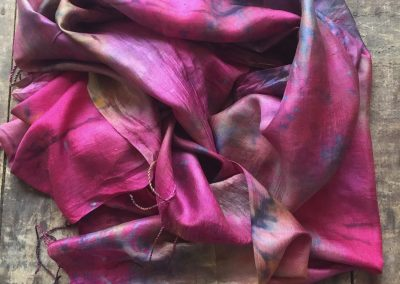 Snow dyed silk shawl